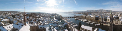 City Panorama of Zürich in Winter
