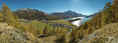 Plaz, Sils/Baselgia, Switzerland, Herbst ,Fall, Autumn, Lake, Water, Panorama, Wasser, Berge, Mountains, environment, scenery, nature, Sun, Horizon, Sky