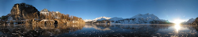 Rio Grande heldado en Janeiro, Silsersee, Sils/Segl, Switzerland, Winter, Lake, Ice, frozen, Water, Panorama, Schwarzeis, Black ice, gefroren, Wasser, Eis, Berge, Mountains, environment, scenery, nature, Sun, Horizon, Sky, sunset