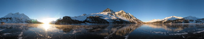Sunset, Silsersee, Sils/Segl, Switzerland, Winter, Lake, Ice, frozen, Water, Panorama, Schwarzeis, Black ice, gefroren, Wasser, Eis, Berge, Mountains, environment, scenery, nature, Sun, Horizon, Sky, sunset