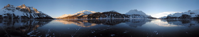 Maloja Glow, Silsersee, Sils/Segl, Switzerland, Winter, Lake, Ice, frozen, Water, Panorama, Schwarzeis, Black ice, gefroren, Wasser, Eis, Berge, Mountains, environment, scenery, nature, Sun, Horizon, Sky, sunset