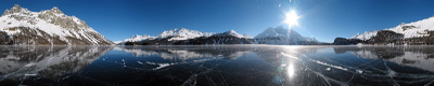 Holiday on Ice, Silsersee, Sils/Segl, Switzerland, Winter, Lake, Ice, frozen, Water, Panorama, Schwarzeis, Black ice, gefroren, Wasser, Eis, Mountains, environment, scenery, nature, Sun, Horizon, Sky, sunset