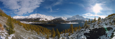 Lej Da Segl, Via Engadina, Sils/Baselgia, Switzerland, Winter, Lake, Water, Panorama, Wasser, Berge, Mountains, environment, scenery, nature, Sun, Horizon, Sky